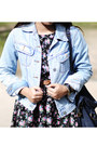 Denim-jacket-camel-shoes-floral-print-dress