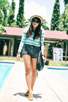 charcoal gray denim shorts - mustard brogues shoes - sky blue stripe shirt