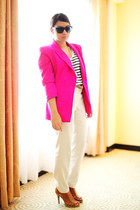 hot pink blazer - stripe giordano shirt - cream pants