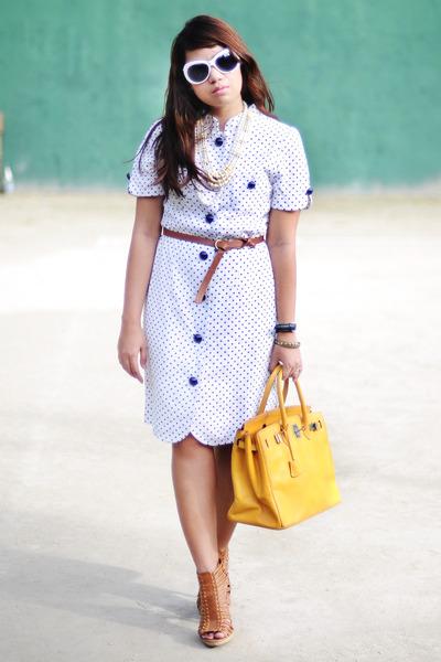 white thrifted dress - mustard mustard thrifted bag