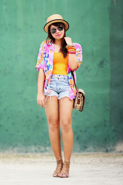 orange top - tropical top - denim shorts