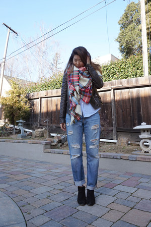 asos scarf - StyleMint jeans - leather ALC jacket