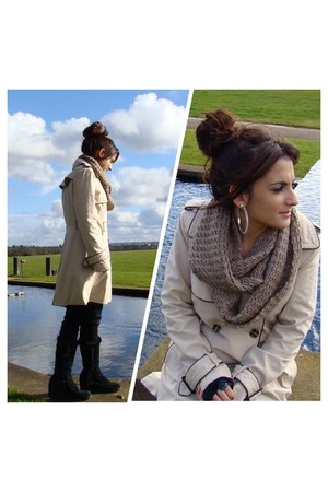 brown scarf scarf - black new look boots - nude Marks and Spencer coat