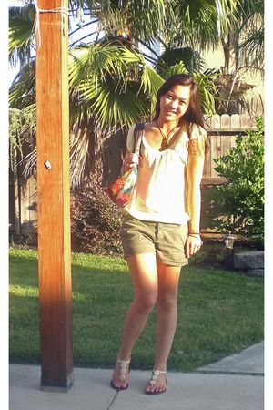 green American Eagle shirt - green Old Navy shorts - beige Urban Outfitters shoe