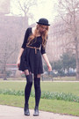 Black-chelsea-asos-boots-black-h-m-dress-black-bowler-h-m-hat