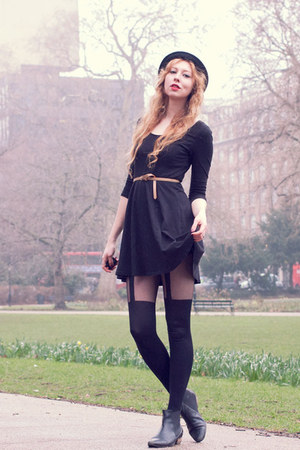black chelsea asos boots - black H&M dress - black bowler H&M hat