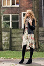 Floral-primark-dress-leather-thrifted-jacket-circle-h-m-scarf