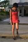 Salmon-cotton-dress-black-people-are-people-heels