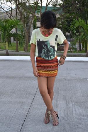 tawny aztec skirt skirt - dark khaki gladiator heels M Nicole heels