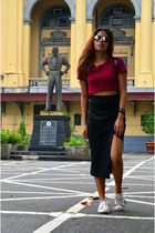 black leather Zalora bag - black cotton blend Zalora skirt
