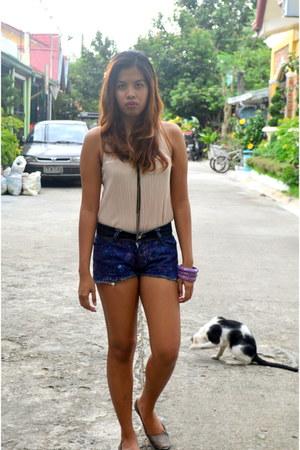 off white glitter Zara top - black diy shorts