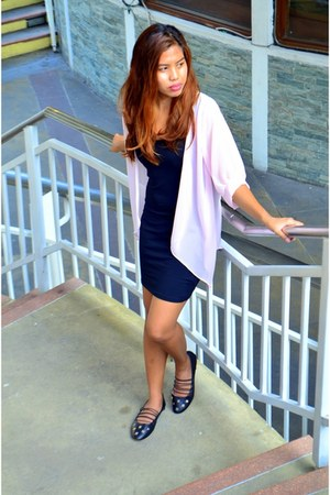 black cotton body con H&M dress - light pink sheer Greenhills cardigan
