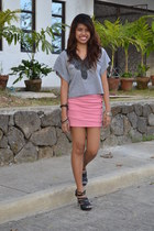 heather gray embellished top top - bubble gum body con skirt skirt