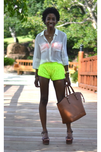 brown martin JustFab bag - lime green dolphin Walmart shorts