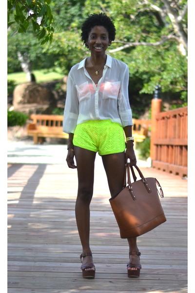 brown martin JustFab bag - lime green dolphin Walmart shorts