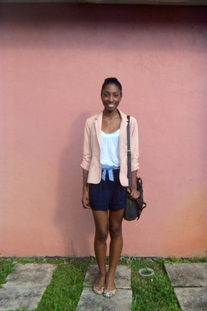 light pink double breasted Forever 21 blazer - navy Forever 21 shorts