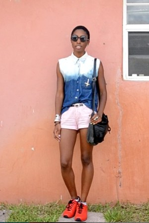 navy bleached denim DIY shirt - red striped American Eagle shorts