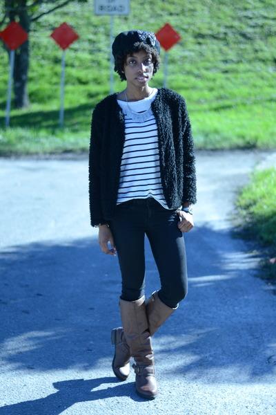 brown PacSun boots - black H&M jacket