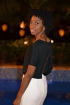 black open back bella  canvas top - white Forever 21 skirt