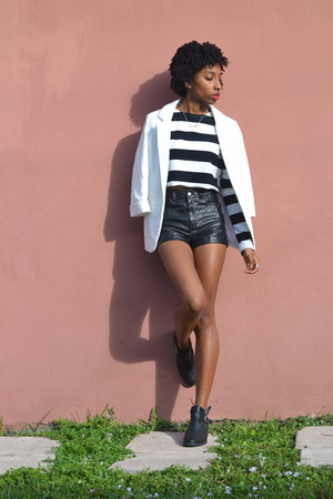 H&M boots - high waisted H&M shorts - cropped OASAP top