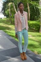 peach Forever 21 blazer - aquamarine Love 21 jeans