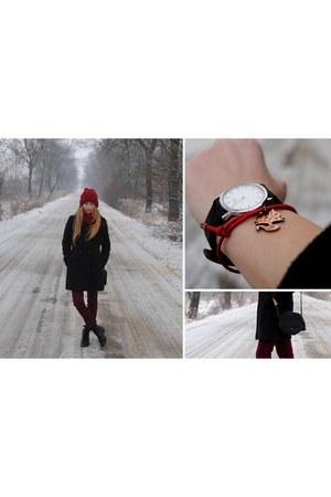 black Zara coat - brick red Zara pants