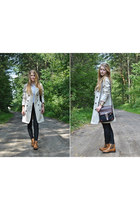 black kazar bag - bronze wojas boots - cream Mohito coat