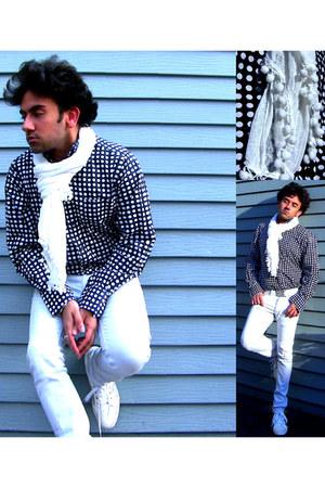 white skinny jeans Topman jeans - navy polka dot ben sherman shirt