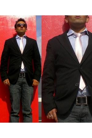 charcoal gray skinny jeans Topman jeans - black blazer Manish Malhotra blazer -