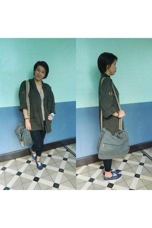 dark green army jacket coat - black leggings Forever 21 tights