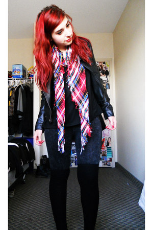 plaid scarf - black costa blanca x boots - black Urban Planet jacket