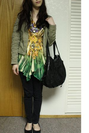 yellow blouse - green Old Navy jacket - black jeans - black Lucky You shoes - bl