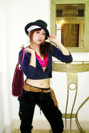 black hat - pink bra - blue blazer - brown belt - black pants - white