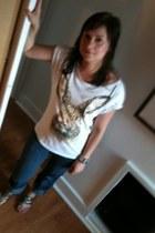 blue Topshop jeans - white Zara t-shirt