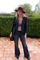 armani blazer - Mango t-shirt - Zara jeans - agnes b hat