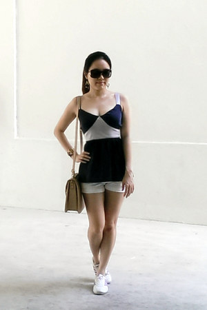 white Guess shorts - navy babydoll Lovebonito top