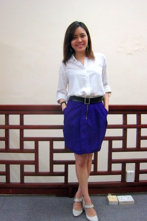 purple Lollyrouge skirt - white shirt - beige Charles & Keith heels