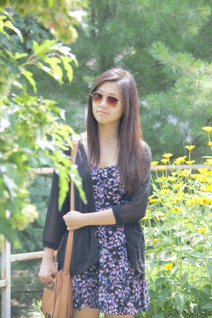 floral Express dress - Aldo sunglasses - sheer black Urban Outfitters cardigan