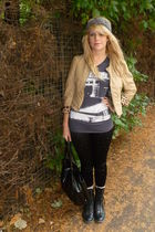 beige H&M jacket - gray Primark menswear t-shirt - black Topshop leggings - blac