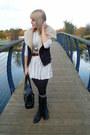 Black-primark-jacket-white-topshop-dress-black-forever-21-boots