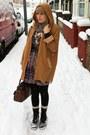 Puce-thrifted-coat-purple-random-dress-black-miss-selfridge-belt