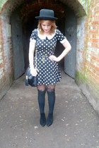 black asos boots - black polka dot new look dress - orange thrifted blazer