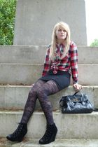 black Matalan shoes - black Primark tights - black H&M skirt - Peacocks shirt