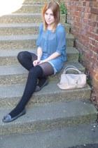 Levis shorts - turquoise blue blouse