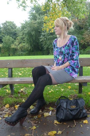 black knee high Peacocks socks - black clog Love Label boots - gray H&M dress