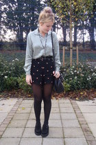 black floral Topshop shorts - black creepers shoes