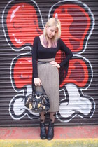 camel knitted tube vintage skirt - black vintage Dandy Dolls bag