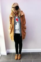 white new york t-shirt - brown brogue Primark shoes - black Primark jeans