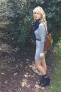 Gray-mango-dress-brown-vintage-black-matalan-shoes-black-love-label-socks