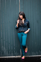 navy denim American Eagle jacket - forest green American Eagle jeans